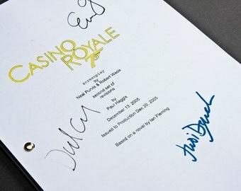 Casino Royale James Bond Film Movie Script with Signatures/Autographs Reprint