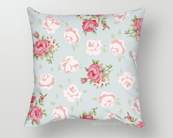 Rose Floral Pattern 18 x 18 Pillow Cover - One Pillow Cover with insert - Accent Pillow - Decorative Pillow - Throw Pillow Cover Case