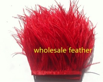10 yards/lot red ostrich feather trimming fringe on Satin Header 5-6inch in width for Wedding Derss