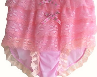 S9H9 PINK Lace Ruffle Rumba Frilly Handmade Briefs Panties Sheer Nylon Knickers Underwear  Lingeries