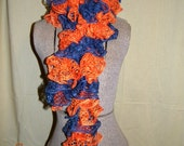 "Handmade Knitted Sashay ""AUBURN"" scarf,  Blue and Orange"