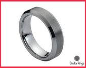 Men Tungsten wedding band, Men Tungsten carbide ring beveled edges,FREE ENGRAVING,Tungsten Ring,Wedding band for men-women 6MM width band