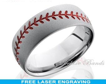 titanium baseball wedding ring mens wedding band titanium