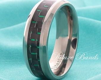 Green Carbon Fiber Inlay Titanium Wedding Band Mens Ring 8mm Carbon Fiber Inlay Beveled Edges Custom Made His Hers Titanium Anniversary Ring