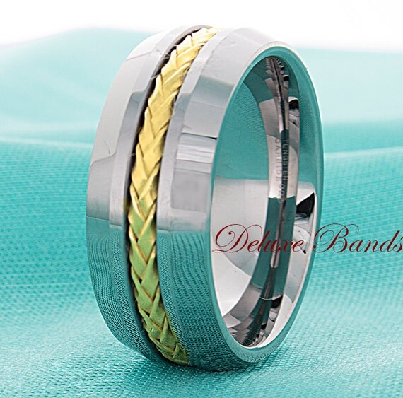 Tungsten Wedding Band 8mm Braided Gold Plated Sterling Silver