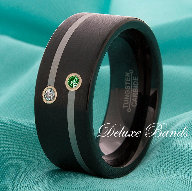 Black Tungsten Wedding Band Emerald Diamond Anniversary Ring