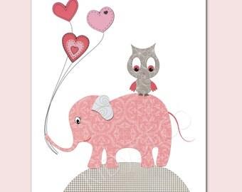 Print for nursery girl Kids Wall Art Nursery Decor Baby girl Room Art Nursery Art Decor, pink, elephant owl balloons pink