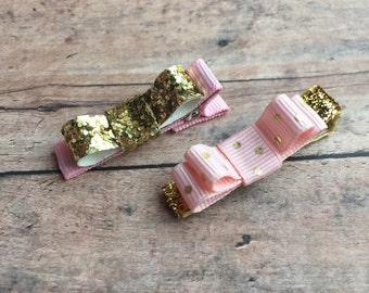 Gold & Pink Bow Hair Clip Set