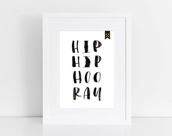 "fine-art print poster ""Hip Hip Hooray"" hoo ray Typographie"