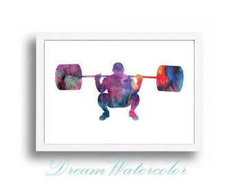 Watercolor Print Weightlifting Illustration Watercolor Painting Watercolor Nursery Kids Room Art