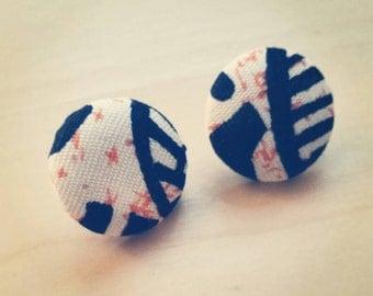 Fabric Covered Button Earrings (Ankara, Wax Print, Studs, Accessories)