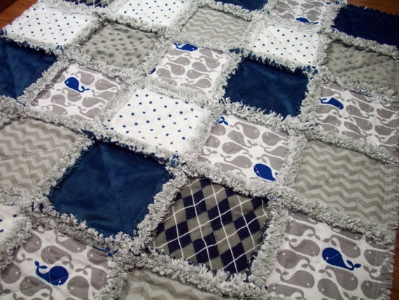 Baby Rag Quilts Whales Baby Quilt Rag Quilt Navy Blue White