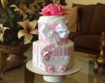 Baby Girl diaper cake pink and white diaper cake baby shower gift/centerpiece 2 tier diaper cake
