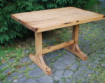 The Bodhi - Breakfast Nook Trestle Table, Farmhouse Dining Table, Oak Kitchen Table, Distressed Wood Table