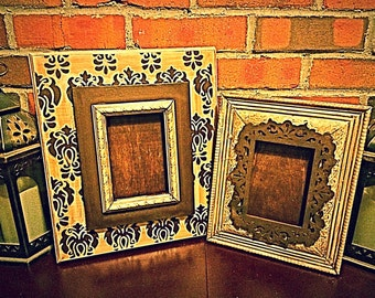 Set of 2 Distressed Frames in Gorgeous Neutrals and Print. Rich Walnut Brown, Cream & Taupe. Damask Print.