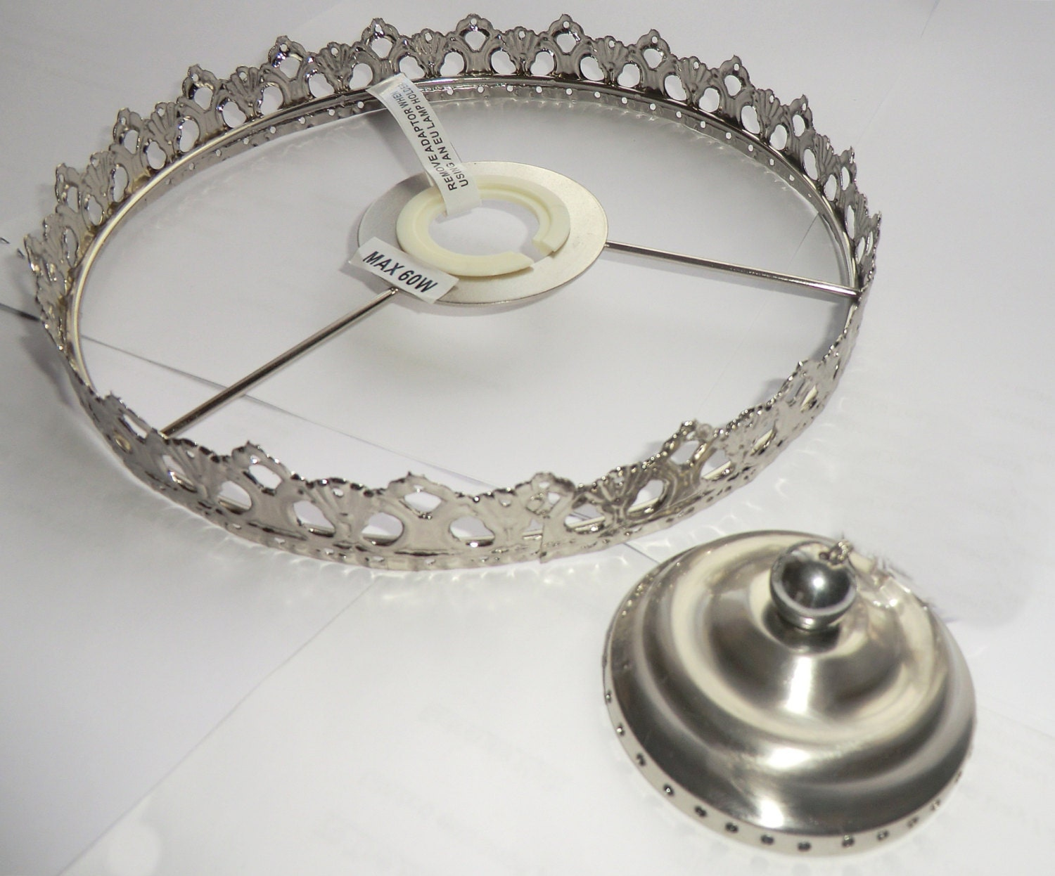 Deep bag chandelier metal frame no drops make your own for How to make a chandelier out of a lamp shade