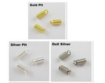 Spring Coil Ends For 1.5mm-5mm Cord - Gold,Silver,Dull Silver