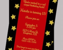 Red Carpet Teen Birthday Invitation, Digital Birthday Invitation, Oscar Party Birthday Invitation, Red, Black, Gold Hollywood Invitation