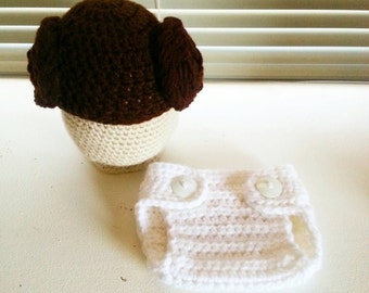 Crochet Princess Leia Hat and Diaper cover set