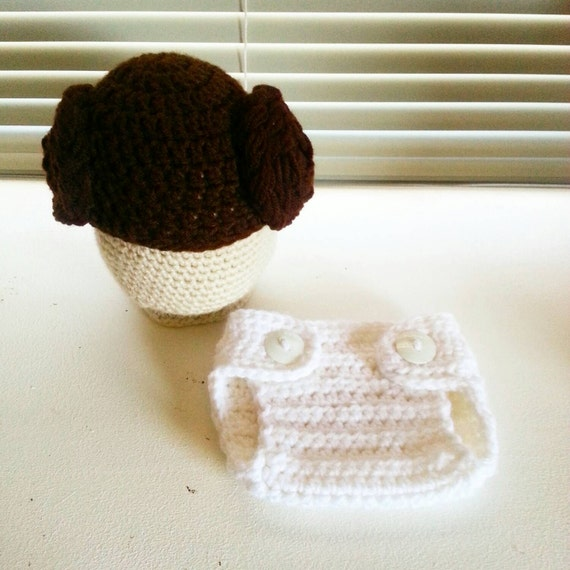 Crochet Pattern Princess Leia Hat : Crochet Princess Leia Hat and Diaper cover set