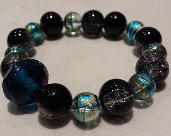 Blue and black stretchy bracelet