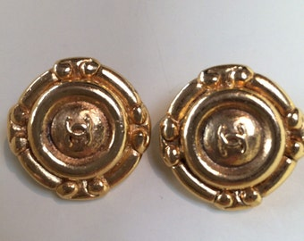 A Pair Of Classic, Gold, Chanel, Clip, Costume Earrings