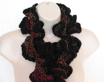 Black With Multi Colored Threads Throughout Crochet Curly Scarf