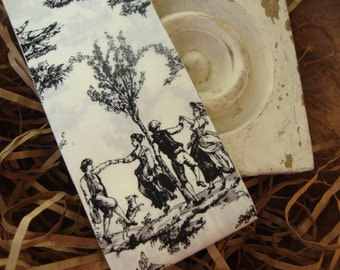 French Country Black and Ivory Toile Fabric Ribbon