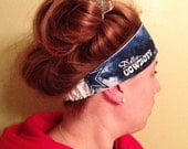 workout yoga headband - Dallas Cowboys football tye-dye themed fabric reversible solid white - secure fit elastic back