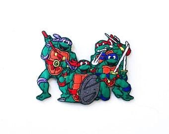 80's Teenage Mutant Ninja Turtles Embroidered Iron-On Patch Vintage Deadstock