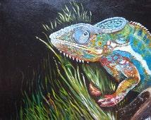 Acrylic painting, original. 'Chameleon'. Free UK delivery.