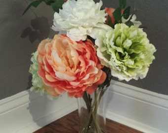 Coral Green and White Arrangement