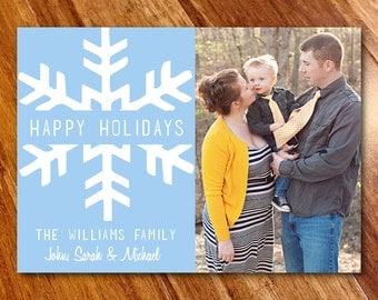Custom Photo Christmas Card Holiday Card // Snowflake Happy Holidays