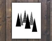 Mountain print, Forest art print, Printable mountain art, Geometric wall art, Black mountain art, Instant download