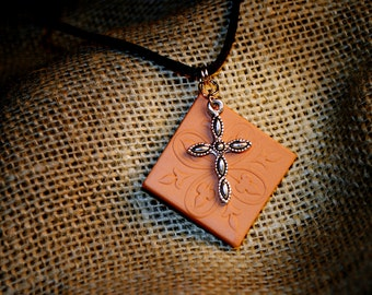 Essential Oil Diffuser Necklace with Natural TerraCotta Pendant- Square Pendant with Cross Charm