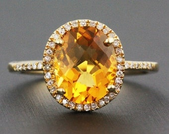 2.47ct Faceted Oval Citrine & Diamonds 14K Yellow Gold Solitaire Halo Ring - CUSTOM MADE