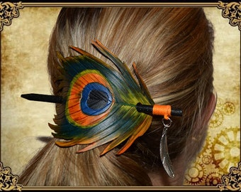 Hair pin feather feather hair pin brooch stick stick peacock blue green Orange