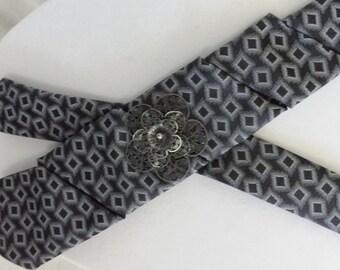 Upcycled Necktie Repurposed tie Wedding attire black grey diamond shapes filigree flower Textile Jewelry Refashioned tie