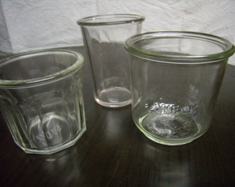 3 old verrines to jam or jelly, Vintage French, 1940