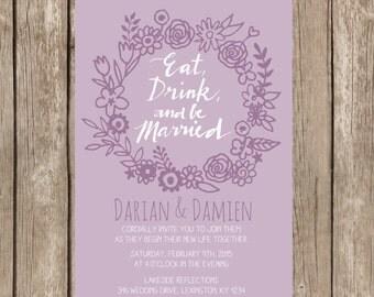 PRINTABLE- Wedding Invite - 5x7 JPG