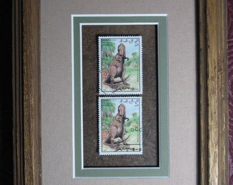 Framed Stamp Art! Prehistoric Beasts! Megalosaurus! Collectible 1992 Arab Republic of Western Sahara Postage Stamps! Ready to Hang!