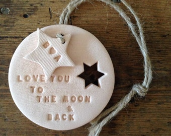 Love you to the moon: blush clay with personalised tag ~ Valentine's gift ~ Valentine's Day ~ wedding gift ~ new baby gift ~ mothers day