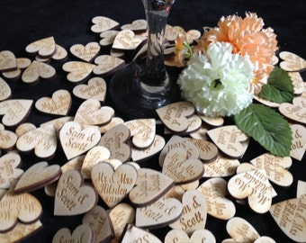 Personalised Engraved 4cm Wooden Engraved Hearts Wedding Table Decorations Favours Rustic Vintage