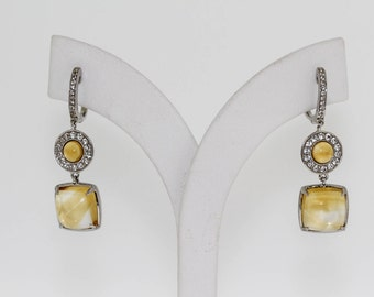 925 Citrine / White Topaz Earring