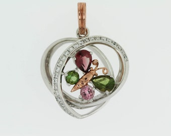 925 Colors of Tourmaline Butterfly Heart Pendant