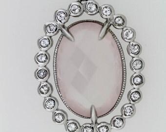 925 Rose Quartz W / White Topaz Pendant