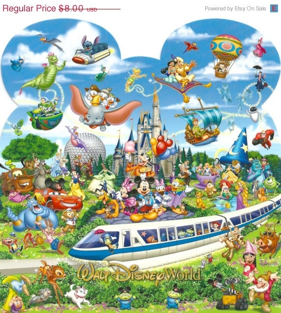 "ON   SALE Counted Cross Stitch - Monorail & characters- 22.79"" x 24.00"" - L791"