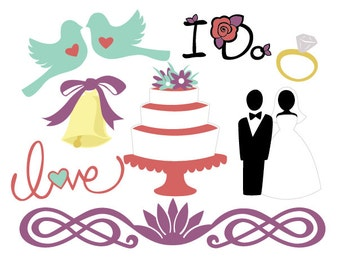 Wedding Elements Vector Art SVG Files