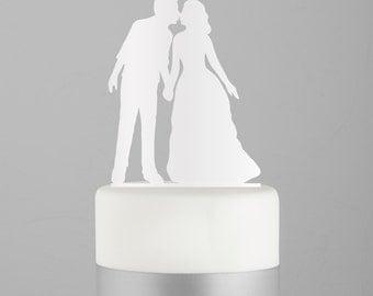 Kissing Couple Wedding Cake Topper -  Silhouette Acrylic Cake Topper - Silhouette - Keepsake - Sealed With A Kiss - Black - White