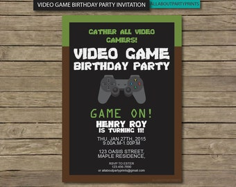 video game party invitations  etsy, party invitations